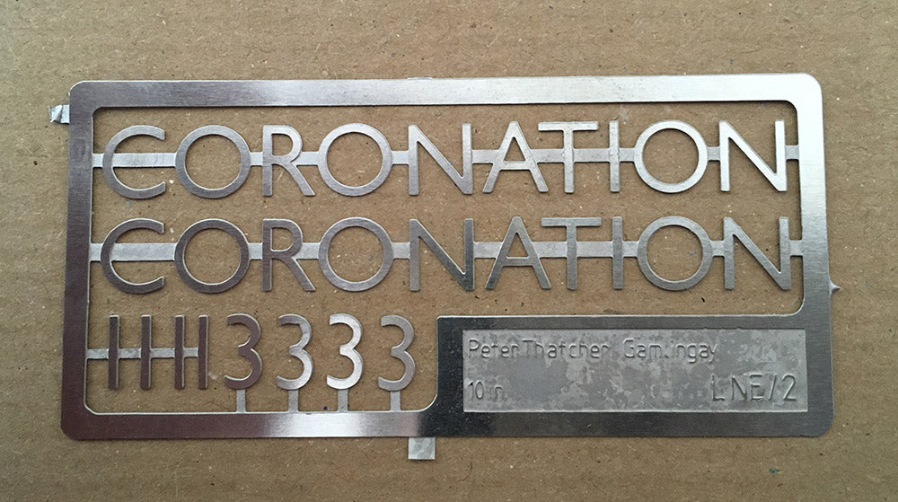 "LNER ""Coronation"" stainless steel characters"