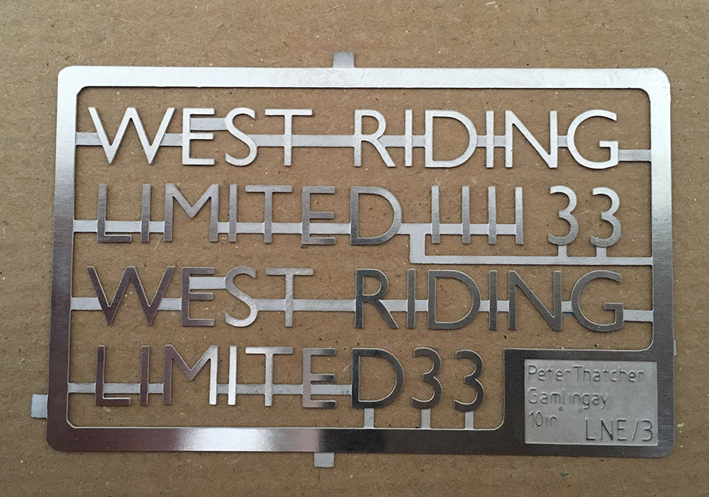 "LNER ""West Riding Limited"" stainless steel characters"