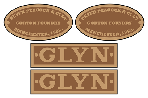 Glyn Valley Tramway Beyer-Peacock loco set plates
