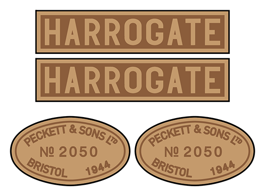 "Peckett ""Harrogate"" loco set plates"