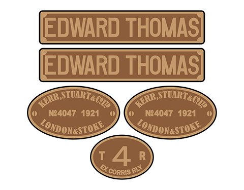 Talyllyn Railway 'Edward Thomas' loco set plates