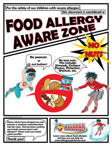Food Allergy Aware Zone No Nuts Poster Simple
