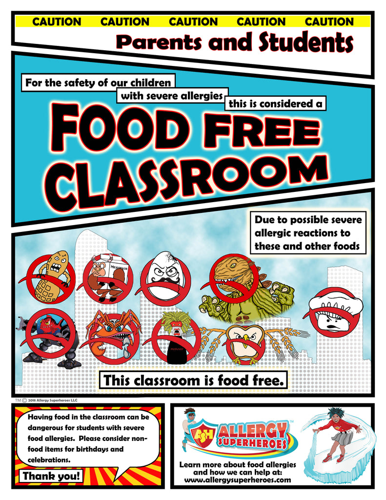 Food Allergy Aware Zone Food Free Poster