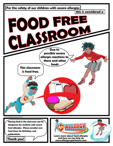 Food Allergy Aware Zone Food Free Poster Simple