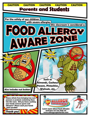 Food Allergy Aware Zone No Nuts Poster