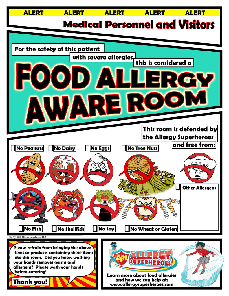 Food Allergy Aware Hospital Room Allergen Poster