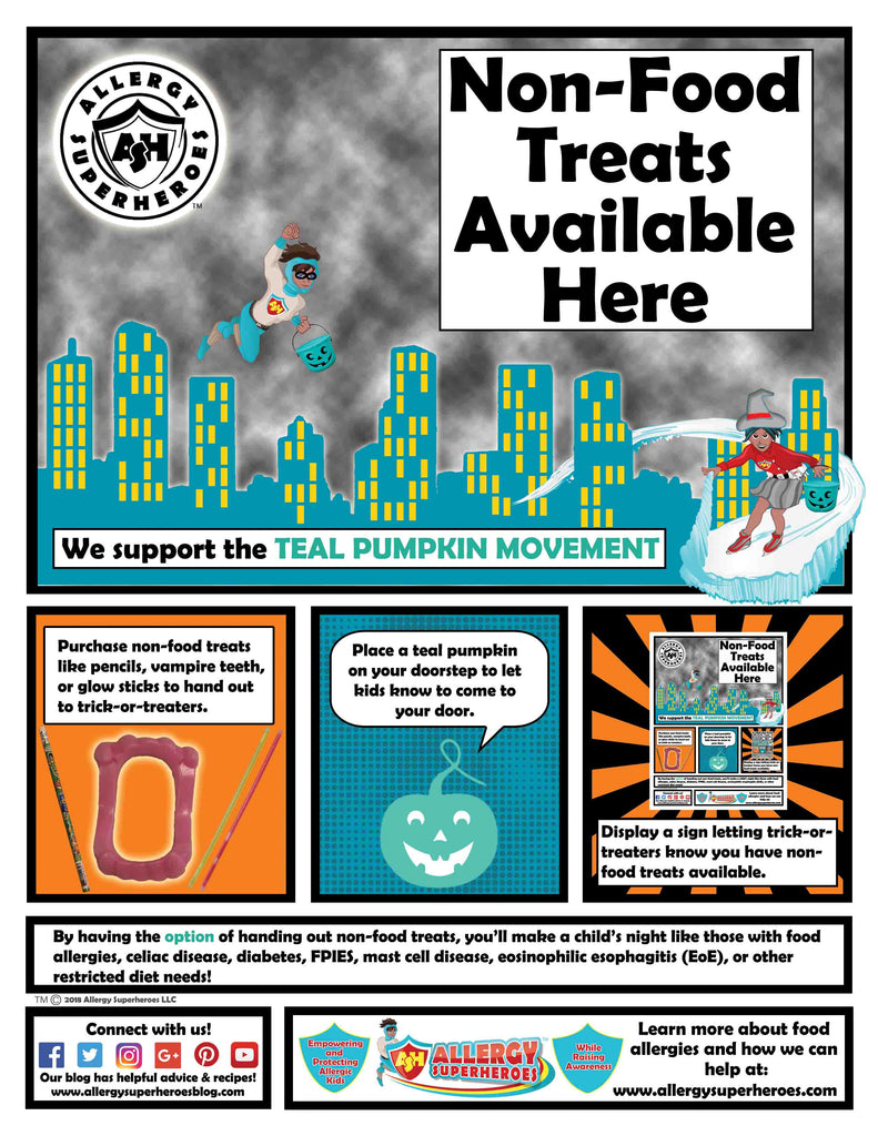 """Non-Food Treats Here"" Teal Pumpkin Poster"