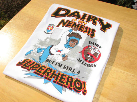 Milkotaur Dairy Allergy T-Shirt featuring Jet Trail by food Allergy Superheroes.