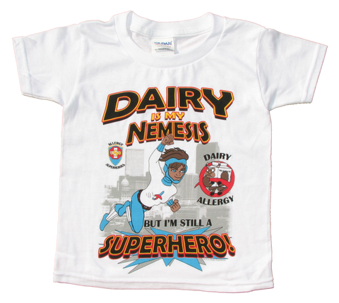 Dairy Allergy T-Shirt Superhero Jet Trail