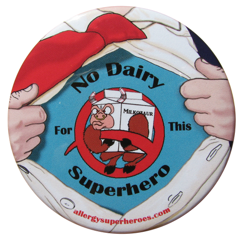 Milkotaur Dairy Allergy boy button by food Allergy Superheroes.