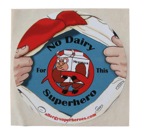 Dairy Allergy Superhero Boy Sticker