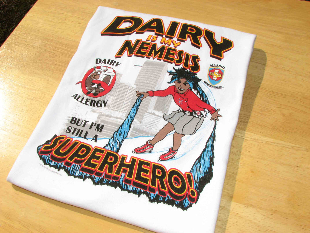 Milkotaur Dairy Allergy T-Shirt featuring Arctic Storm by food Allergy Superheroes.
