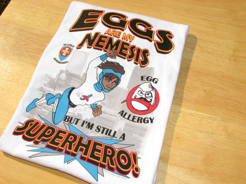Egg Allergy T-Shirt Boy Superhero Jet Trail