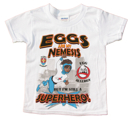 Professor Eggstein Egg Allergy T-Shirt featuring Jet Trail by food Allergy Superheroes.