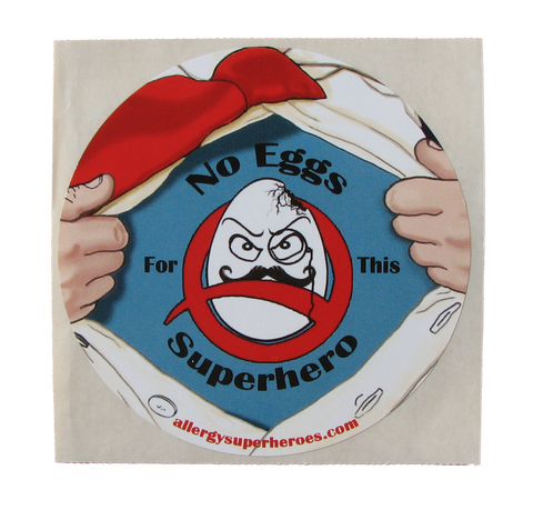 Egg Allergy Superhero Boy Sticker