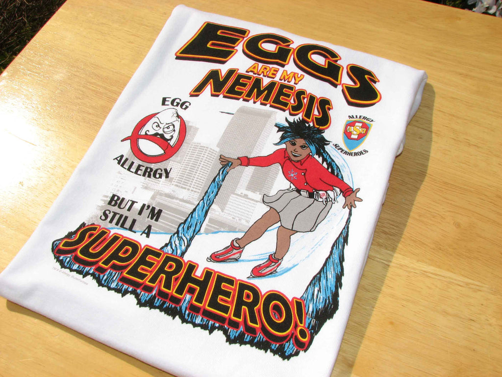 Professor Eggstein Egg Allergy T-Shirt featuring Arctic Storm by food Allergy Superheroes.