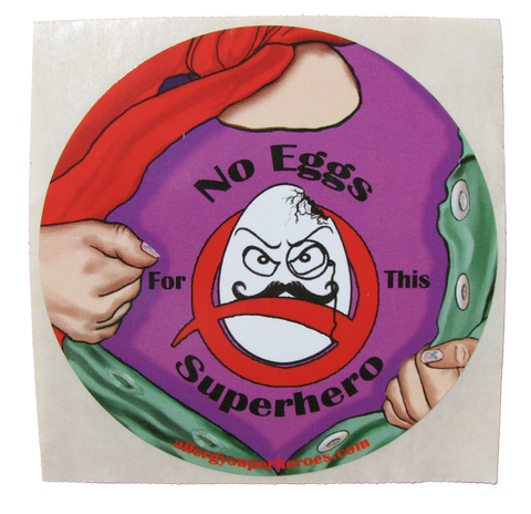 Egg Allergy Superhero Girl Sticker