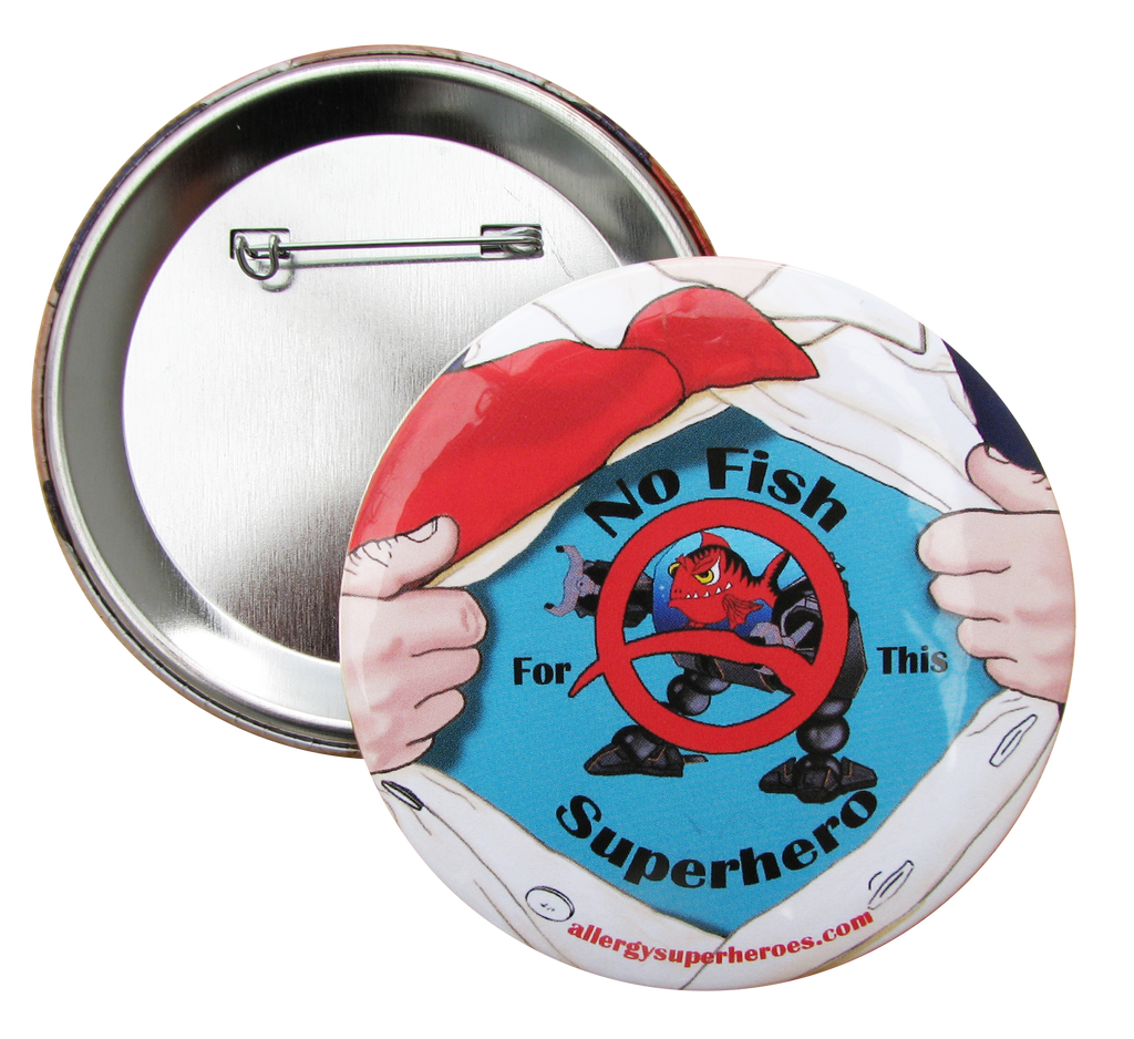 Fish Allergy Superhero Boy Button