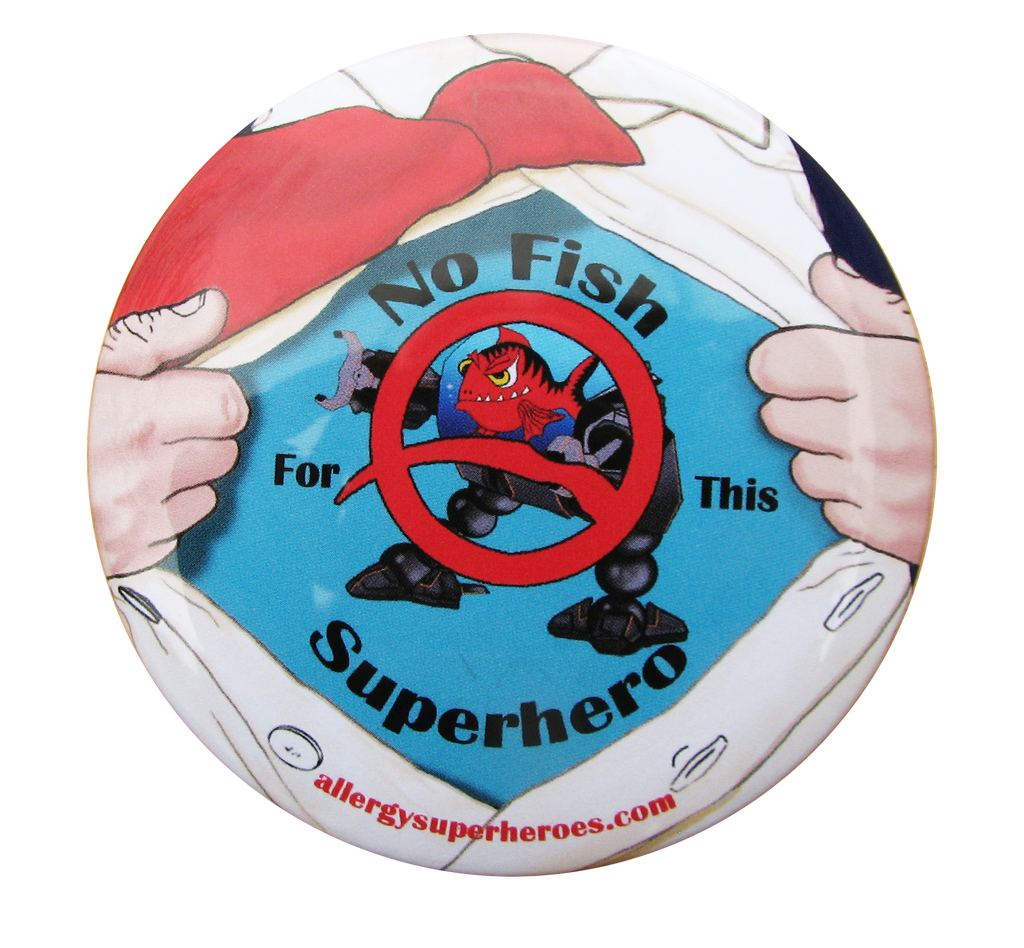 Fishazoid Fish Allergy boy button by food Allergy Superheroes.
