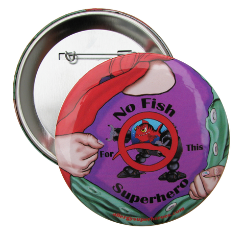 Fish Allergy Superhero Girl Button