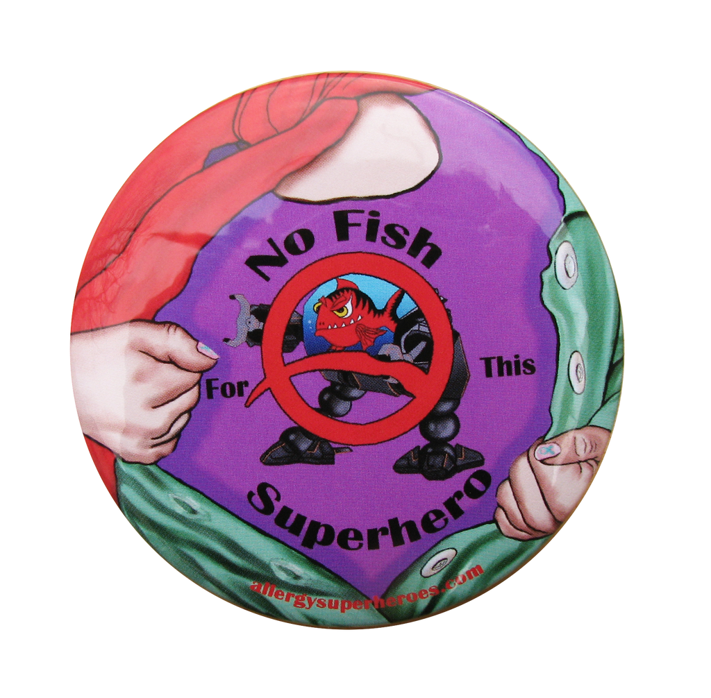 Fishazoid FIsh Allergy girl button by food Allergy Superheroes.
