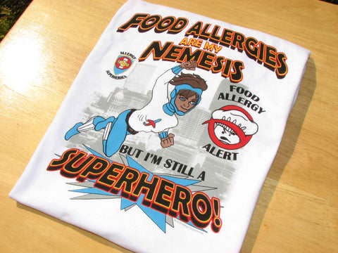 Food Allergy T-Shirt Boy Superhero Jet Trail