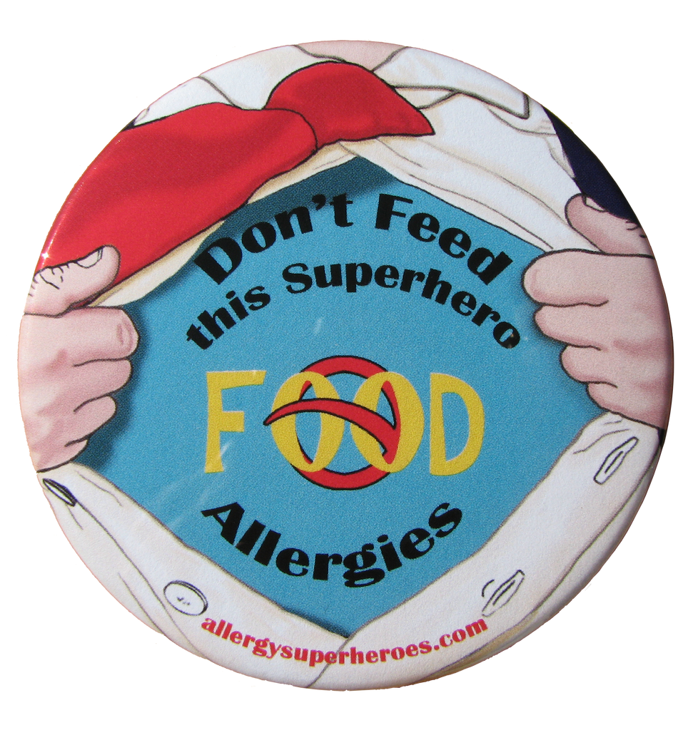 Food Allergy Superhero Boy Button