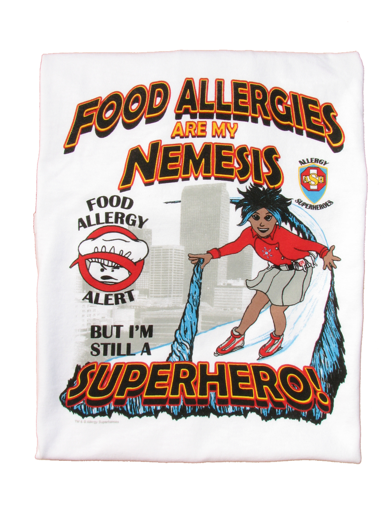 Food Allergy T-Shirt Girl Superhero Arctic Storm