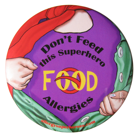 Food Allergy Superhero Girl Button