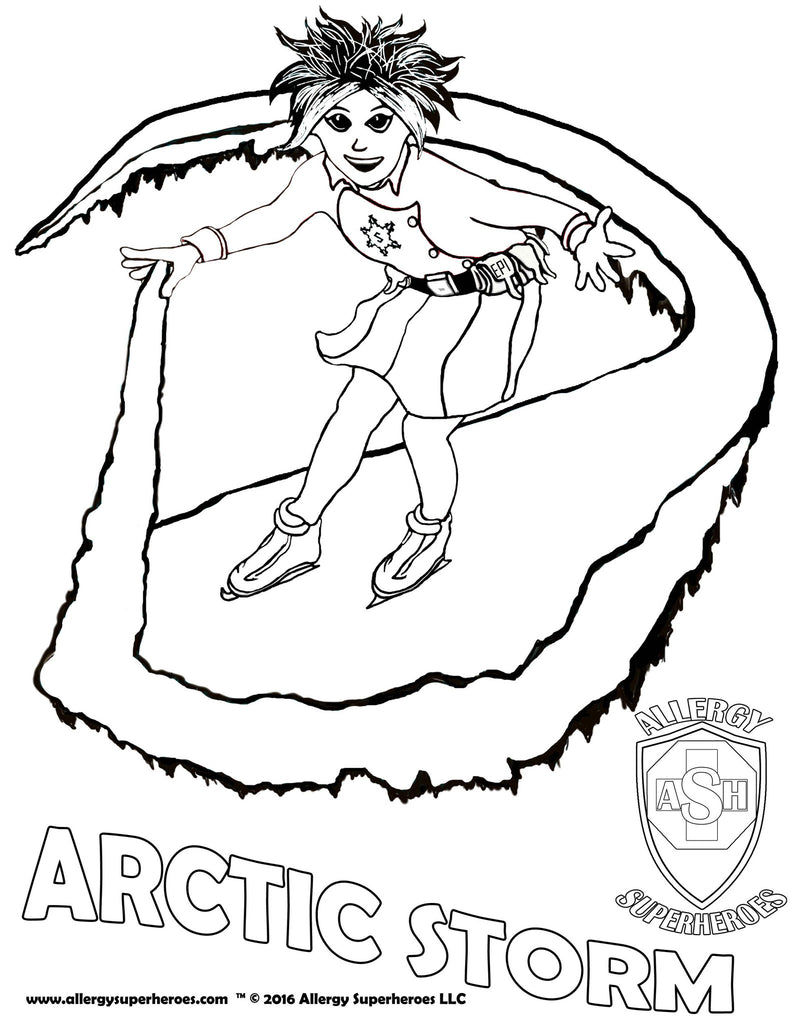 Arctic Storm Allergy Superheroes Coloring Sheet