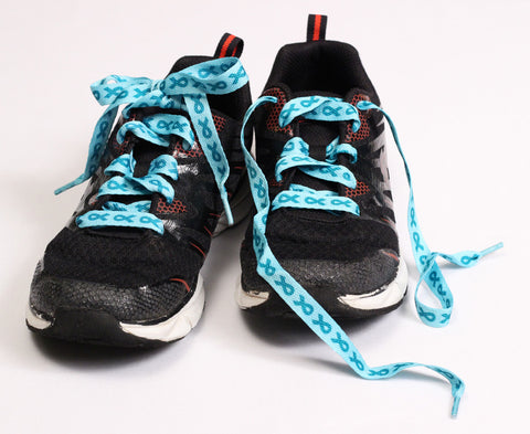 Food Allergy Awareness Shoelaces - Teal Ribbon by Allergy Superheroes