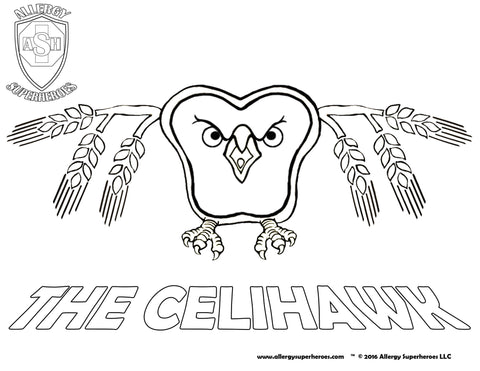 Celihawk Allergy Superheroes Coloring Sheet