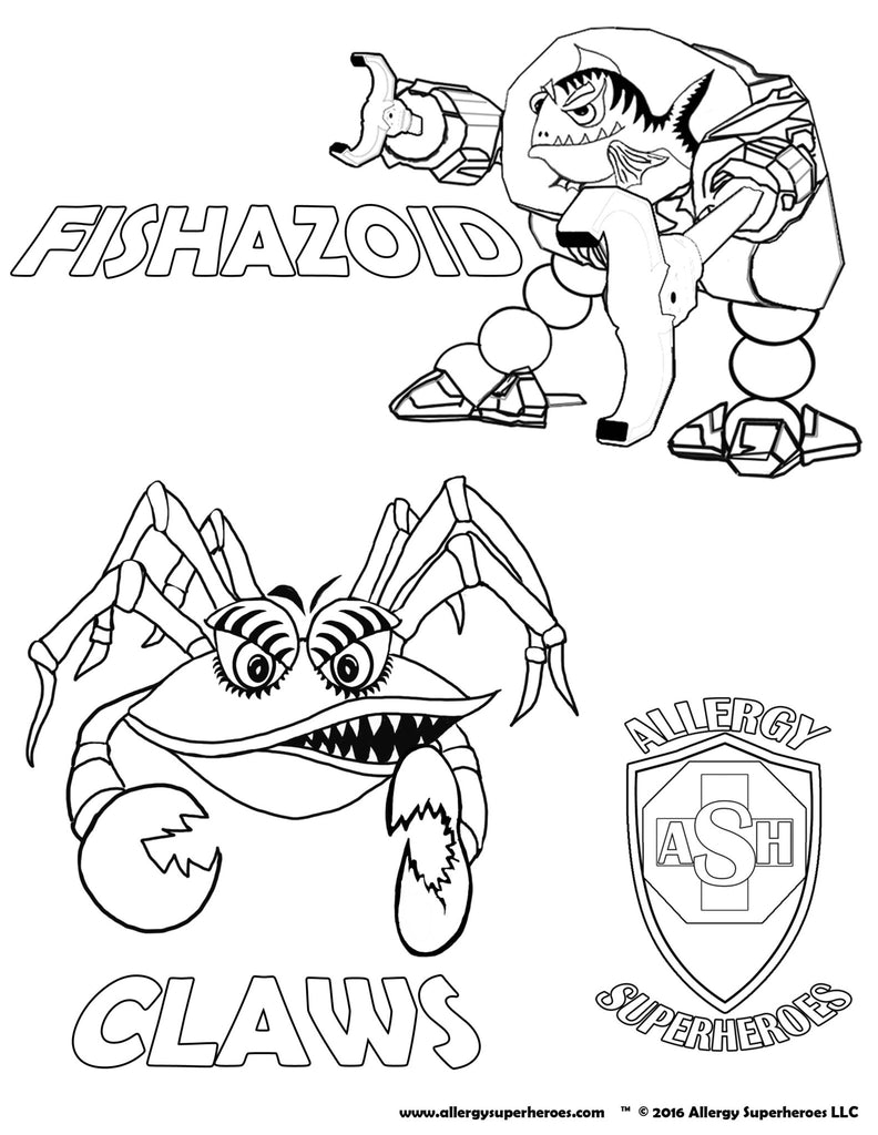 Fishazoid & CLAWS Allergy Superheroes Coloring Sheet