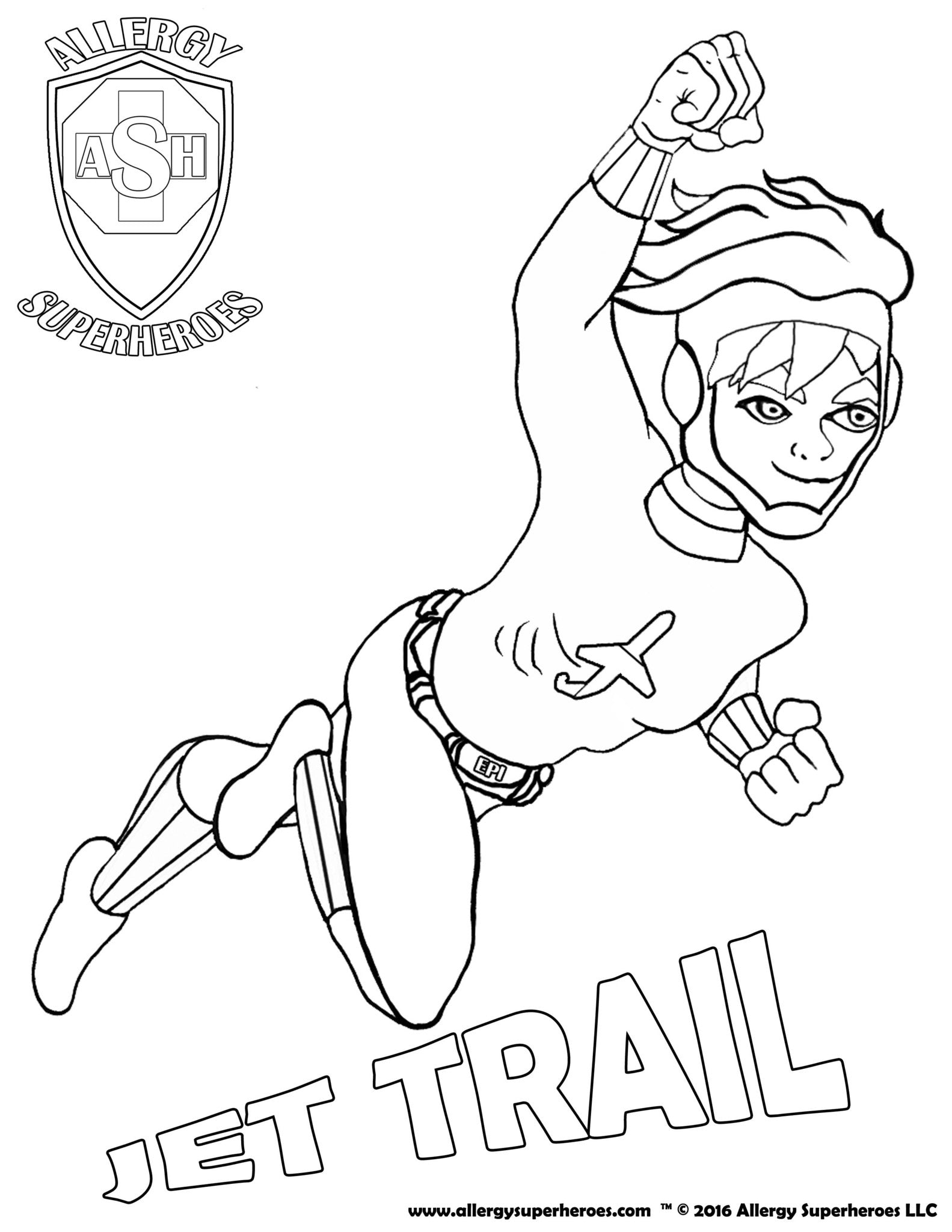 Jet Trail Allergy Superheroes Coloring Sheet