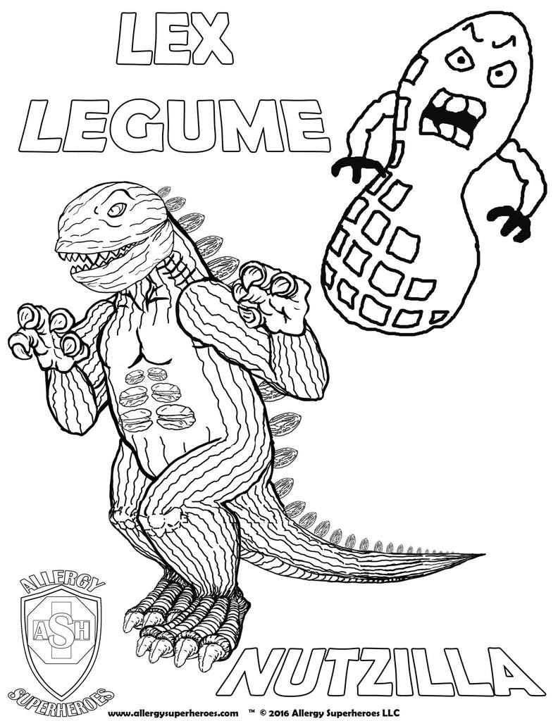 Lex Legume & Nutzilla Allergy Superheroes Coloring Sheet
