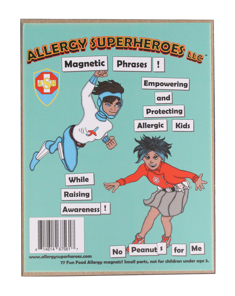 Food Allergy Magnetic Phrases by Allergy Superheroes.