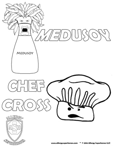 Medusoy & Chef Cross Allergy Superheroes Coloring Sheet