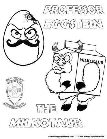 Professor Eggstein & Milkotaur Allergy Superheroes Coloring Sheet