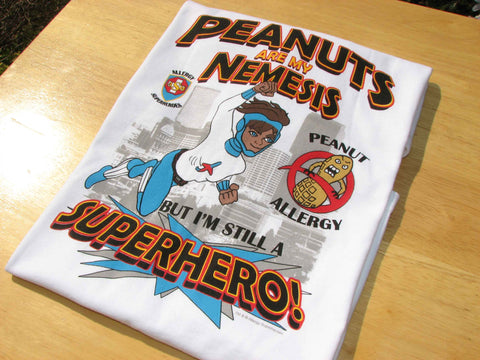 Peanut Allergy T-Shirt Boy Superhero Jet Trail