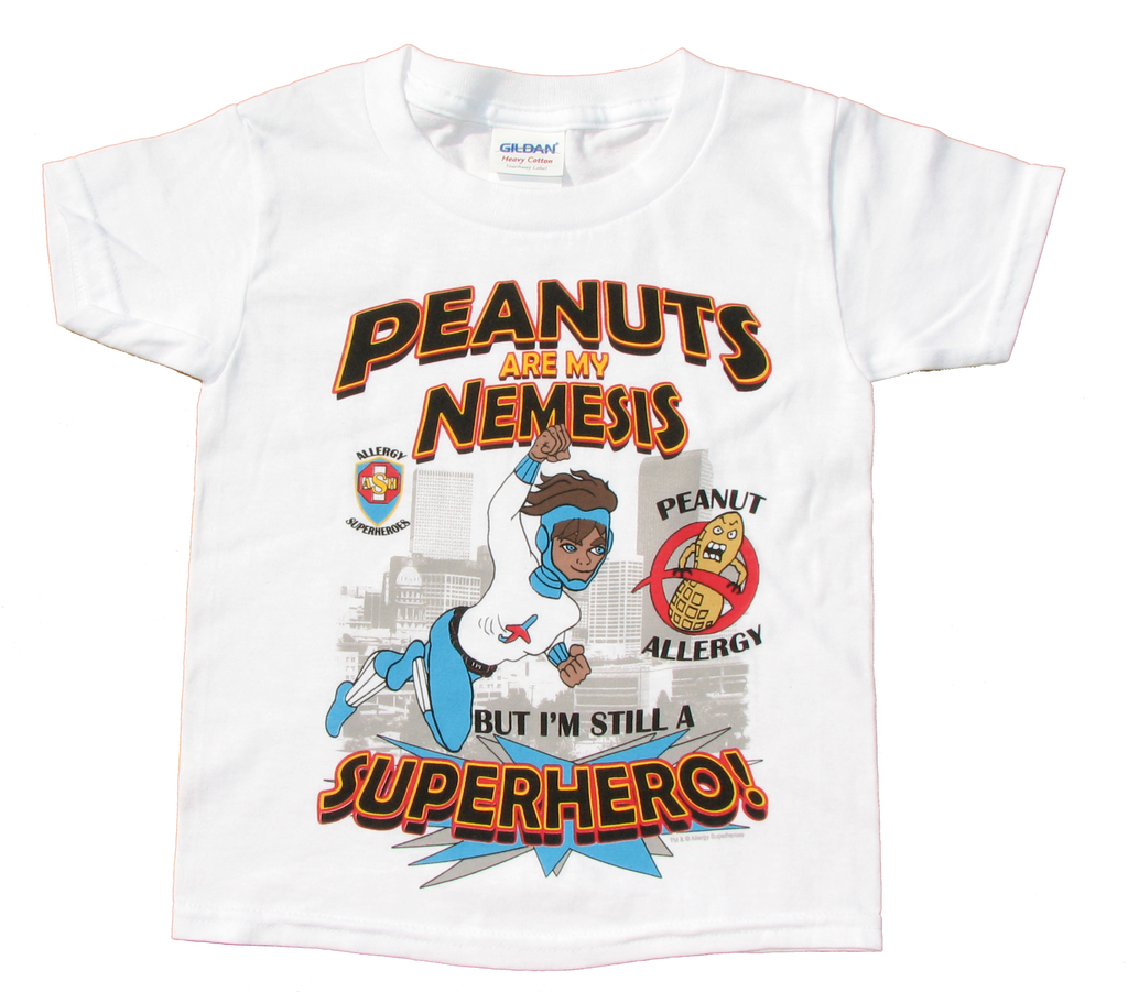 Lex Legume Peanut Allergy T-Shirt featuring Jet Trail by food Allergy Superheroes.