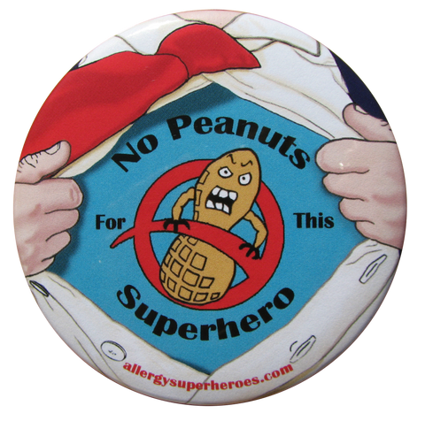 Lex Legume Peanut Allergy boy button by food Allergy Superheroes.