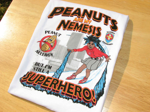 Peanut Allergy T-Shirt Girl Superhero Arctic Storm