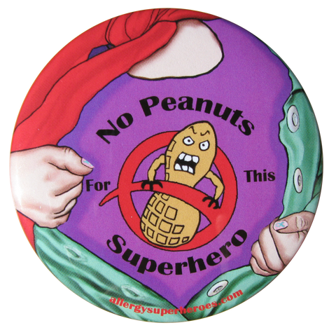 Lex Legume Peanut Allergy girl button by food Allergy Superheroes.