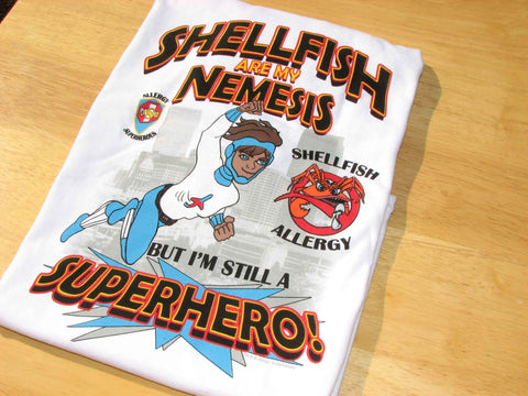 Shellfish Allergy T-Shirt Boy Superhero Jet Trail