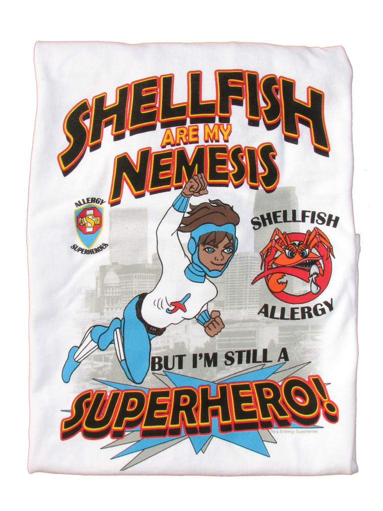 CLAWS Shellfish Allergy T-Shirt featuring Jet Trail by food Allergy Superheroes.
