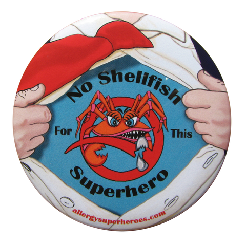 Shellfish Allergy Superhero Boy Button