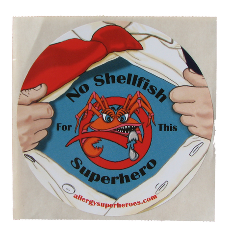 Shellfish Allergy Superhero Boy Sticker