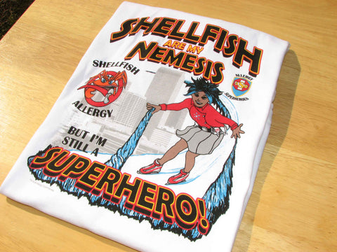 CLAWS Shellfish Allergy T-Shirt featuring Arctic Storm by food Allergy Superheroes.