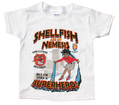 Shellfish Allergy T-Shirt Girl Superhero Arctic Storm