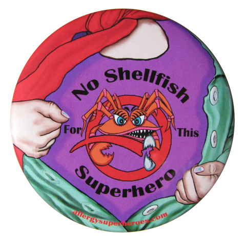 CLAWS Shellfish Allergy girl button by food Allergy Superheroes.